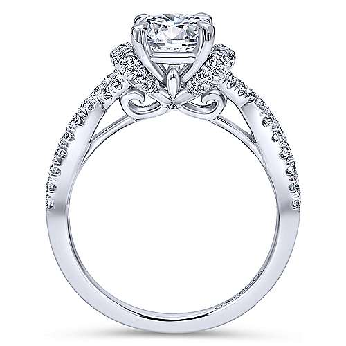 Nori 14k White Gold Round Twisted Engagement Ring angle 2