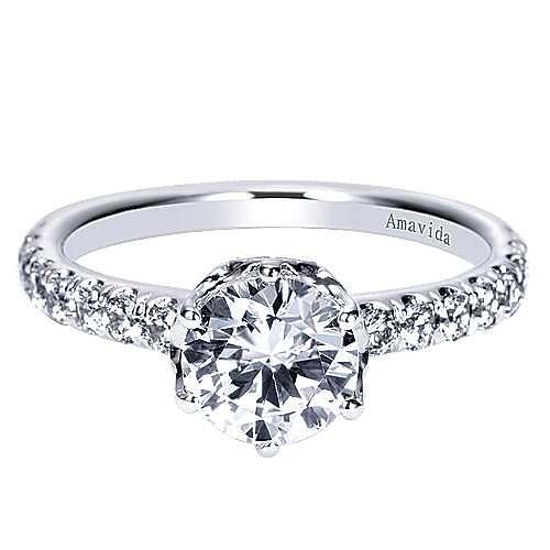 Gabriel - Noritza 18k White Gold Round Straight Engagement Ring