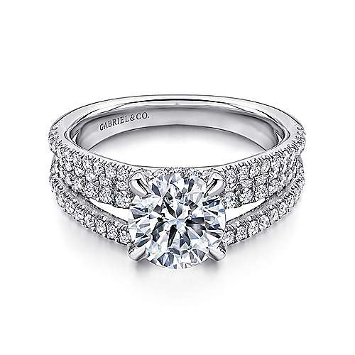 Gabriel - Norma 14k White Gold Round Straight Engagement Ring