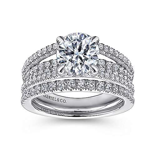 Norma 18k White Gold Round Straight Engagement Ring angle 4