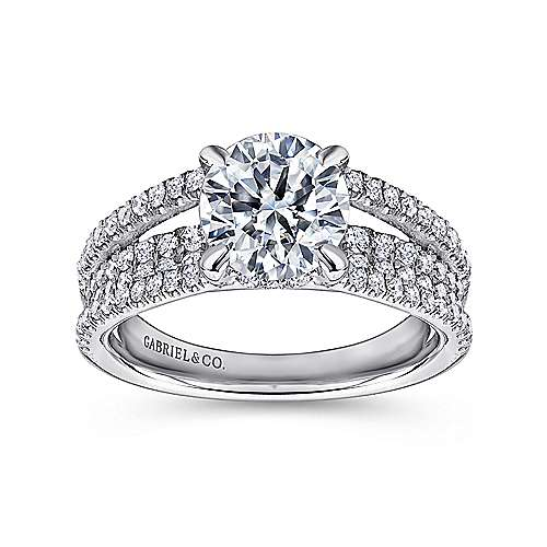 Norma 18k White Gold Round Straight Engagement Ring angle 5