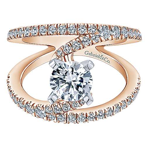Gabriel - Nova 14k White And Rose Gold Round Split Shank Engagement Ring