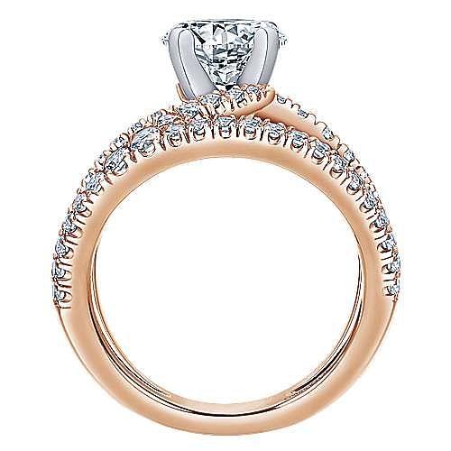 Nova 14k White And Rose Gold Round Split Shank Engagement Ring angle 2