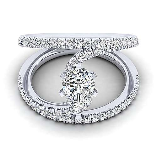 Gabriel - Nova 14k White Gold Pear Shape Split Shank Engagement Ring