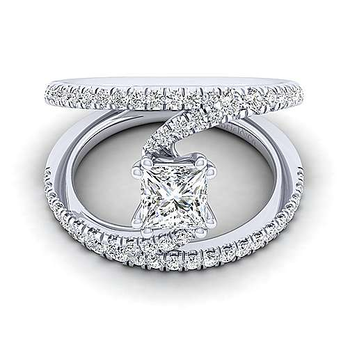 Gabriel - Nova 14k White Gold Princess Cut Split Shank Engagement Ring