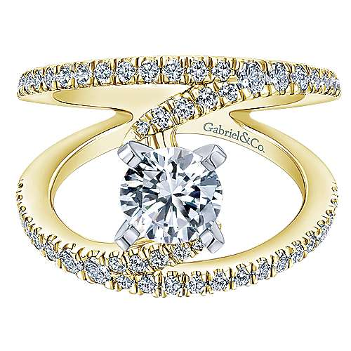 Gabriel - Nova 14k Yellow And White Gold Round Split Shank Engagement Ring