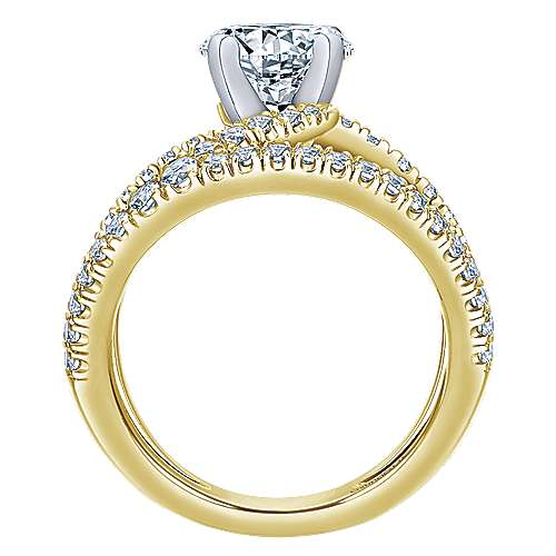 Nova 14k Yellow And White Gold Round Split Shank Engagement Ring angle 2
