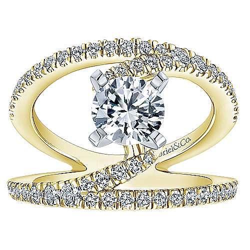 Nova 14k Yellow And White Gold Round Split Shank Engagement Ring angle 5