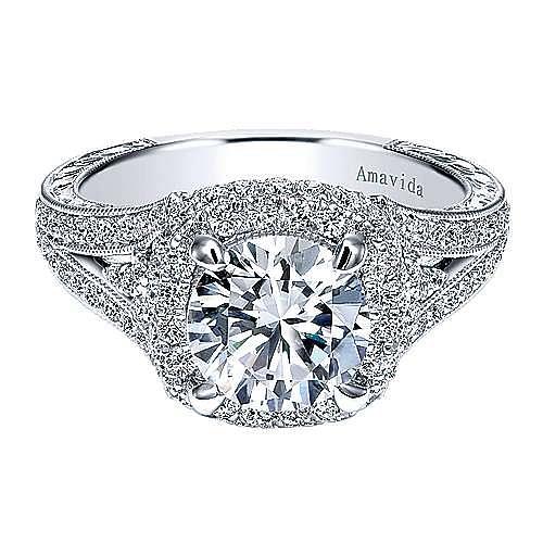 Gabriel - November 18k White Gold Round Halo Engagement Ring
