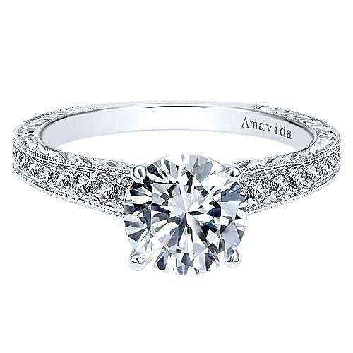 Gabriel - Nurture 18k White Gold Round Straight Engagement Ring