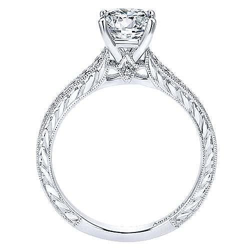 Nurture 18k White Gold Round Straight Engagement Ring angle 2