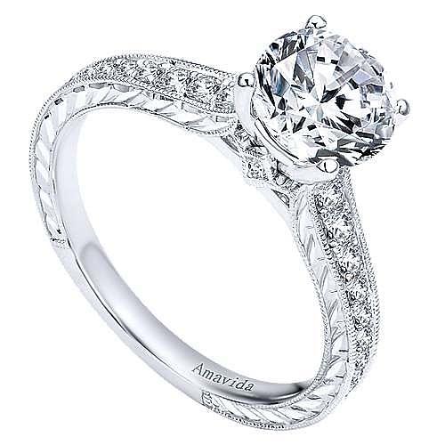 Nurture 18k White Gold Round Straight Engagement Ring angle 3