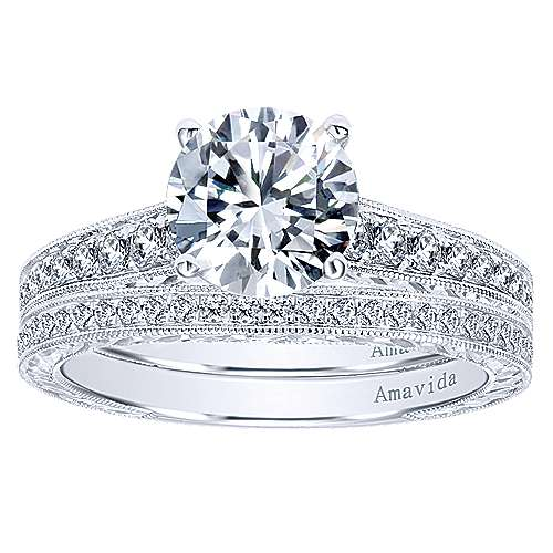 Nurture 18k White Gold Round Straight Engagement Ring angle 4