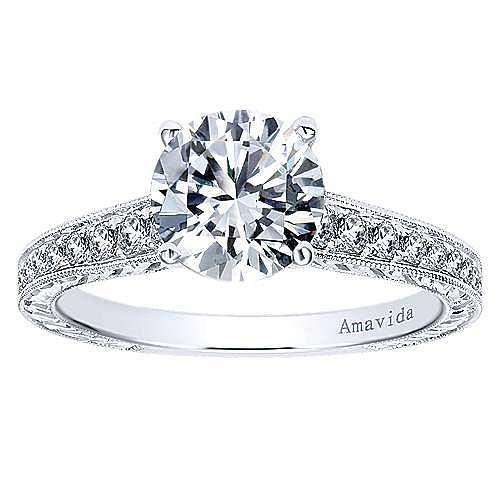 Nurture 18k White Gold Round Straight Engagement Ring angle 5
