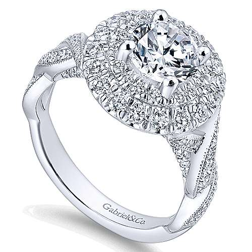 Nymphea 14k White Gold Round Double Halo Engagement Ring angle 3