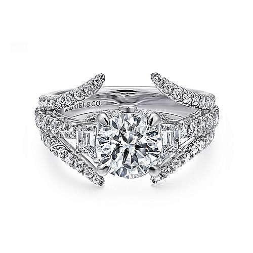 Gabriel - Nysa 14k White Gold Round 3 Stones Engagement Ring