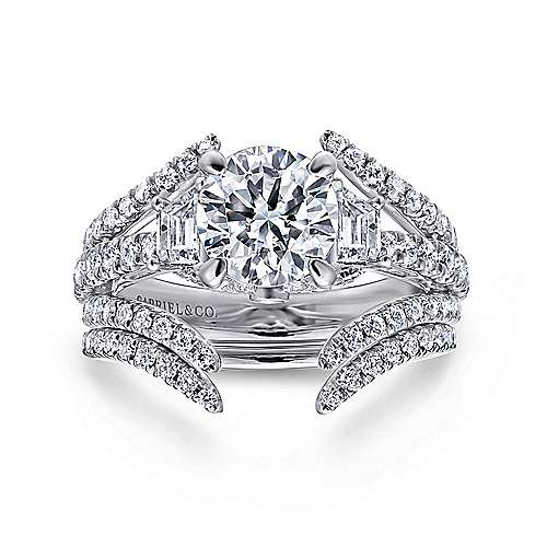 Nysa 14k White Gold Round 3 Stones Engagement Ring angle 4