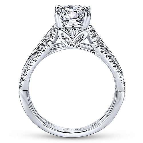Nyvia 14k White Gold Round Straight Engagement Ring angle 2