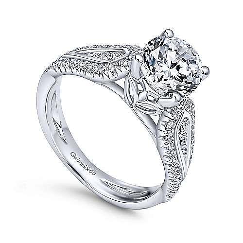 Nyvia 14k White Gold Round Straight Engagement Ring angle 3