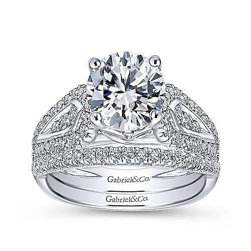 Nyvia 14k White Gold Round Straight Engagement Ring angle 4