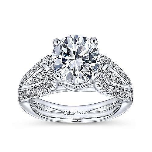 Nyvia 14k White Gold Round Straight Engagement Ring angle 5