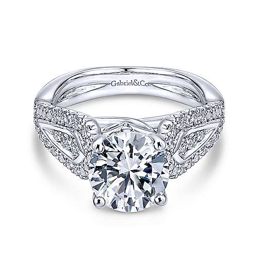 Gabriel - Nyvia 14k White Gold Round Wide Band Engagement Ring