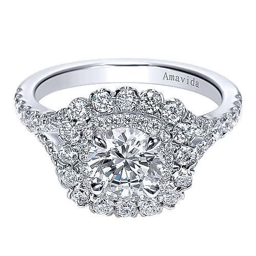 Ocean 18k White Gold Round Double Halo Engagement Ring angle 1