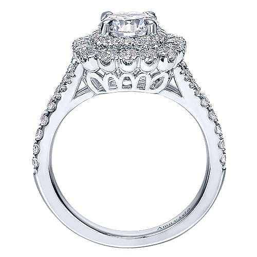 Ocean 18k White Gold Round Double Halo Engagement Ring angle 2
