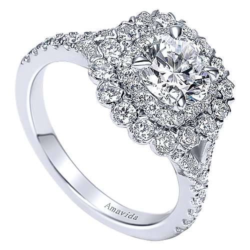 Ocean 18k White Gold Round Double Halo Engagement Ring angle 3
