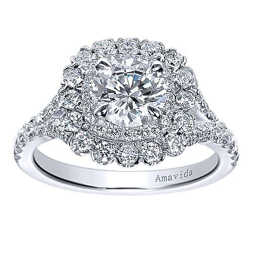 Ocean 18k White Gold Round Double Halo Engagement Ring angle 5