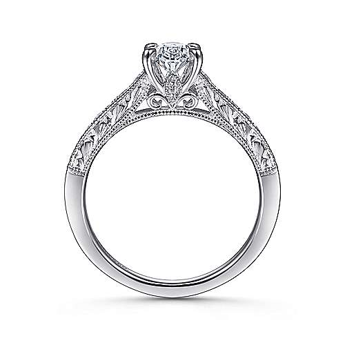 Octavia 14k White Gold Oval Straight Engagement Ring angle 2