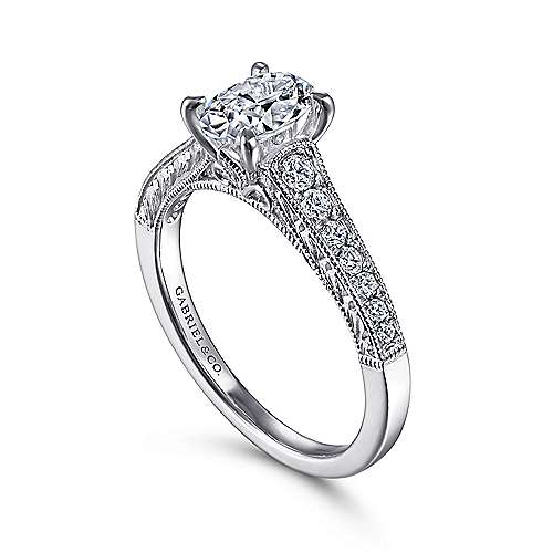 Octavia 14k White Gold Oval Straight Engagement Ring angle 3