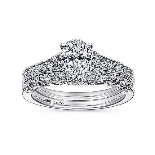 Octavia 14k White Gold Oval Straight Engagement Ring angle 4