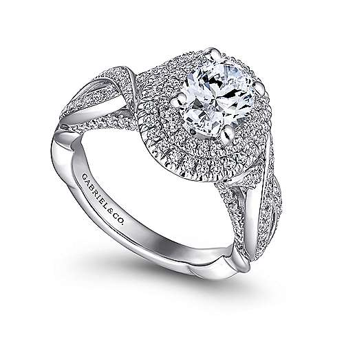 Odessa 14k White Gold Oval Double Halo Engagement Ring angle 3