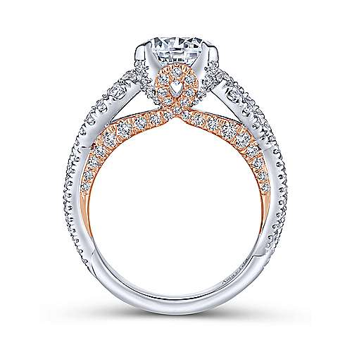 Ohana 18k White And Rose Gold Round Twisted Engagement Ring angle 2