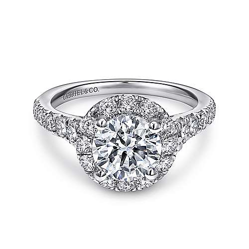 Gabriel - Ola 18k White Gold Round Halo Engagement Ring