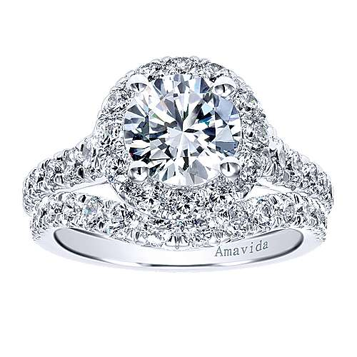 Ola 18k White Gold Round Halo Engagement Ring
