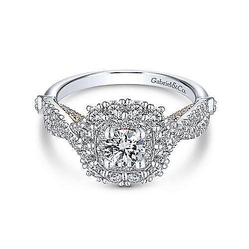Olga 14k White And Rose Gold Round Double Halo Engagement Ring angle 1