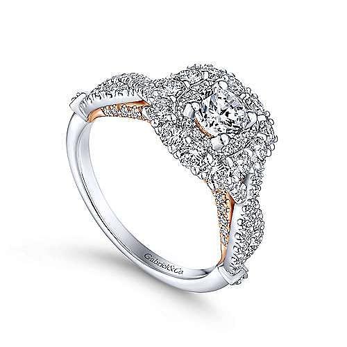 Olga 14k White And Rose Gold Round Double Halo Engagement Ring angle 3