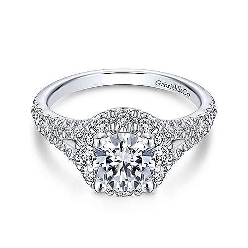 Gabriel - Ollie 14k White Gold Round Halo Engagement Ring