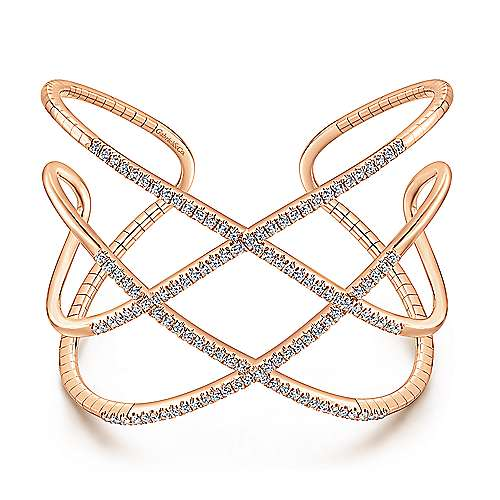 Open 14K Rose Gold Wide Diamond Cuff Bangle