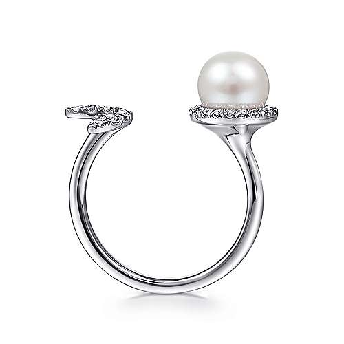 Open 14K White Gold Cultured Pearl and Diamond Leaf Ring