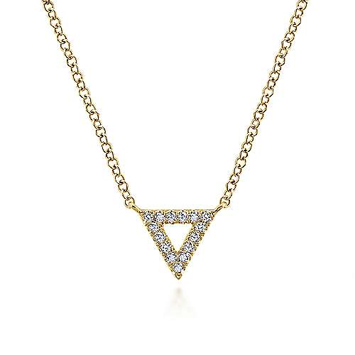 Open 14K Yellow Gold Diamond Pavé Triangle Pendant Necklace