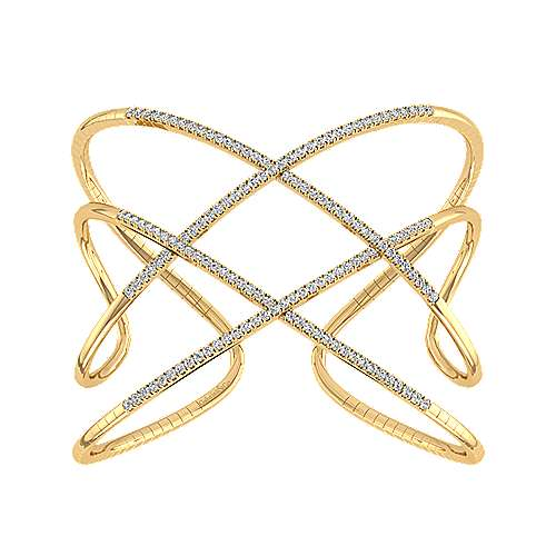 Open 14K Yellow Gold Wide Diamond Cuff Bangle