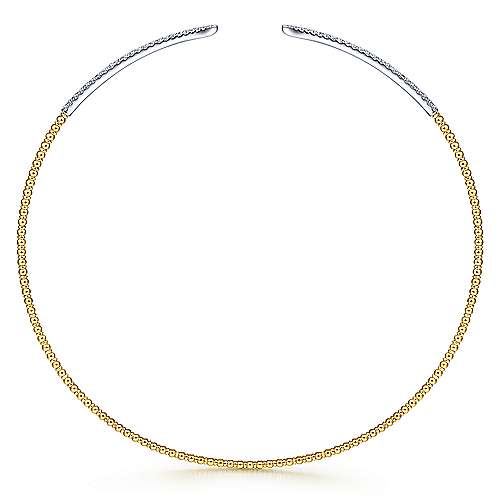 Open 14K Yellow-White Gold Bujukan Beaded Choker Necklace with Pavé Diamonds