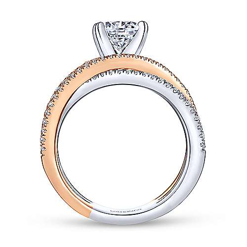 Ophelia 18k White And Rose Gold Round Twisted Engagement Ring angle 2
