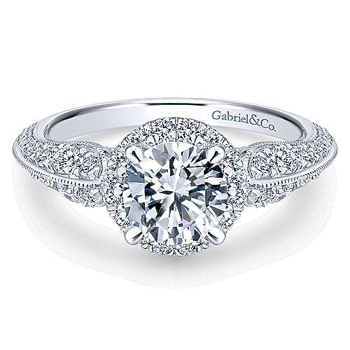 Gabriel - Orchid 14k White Gold Round Halo Engagement Ring