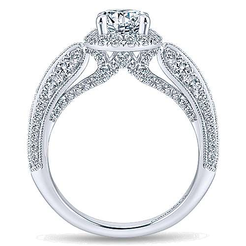 Orchid 14k White Gold Round Halo Engagement Ring angle 2