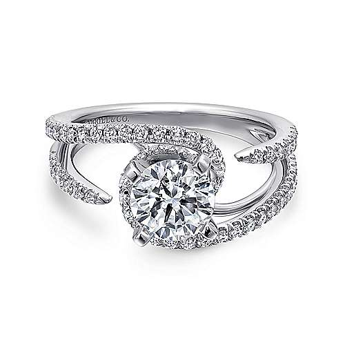 Gabriel - Orion 14k White Gold Round Split Shank Engagement Ring