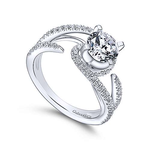 Orion 14k White Gold Round Split Shank Engagement Ring angle 3